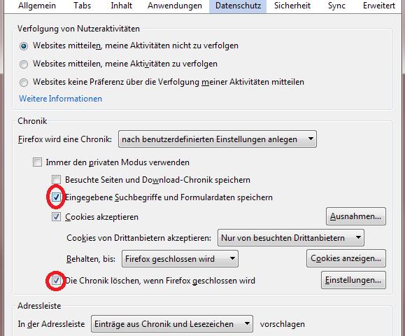 Browsereinstellung Mozilla Firefox